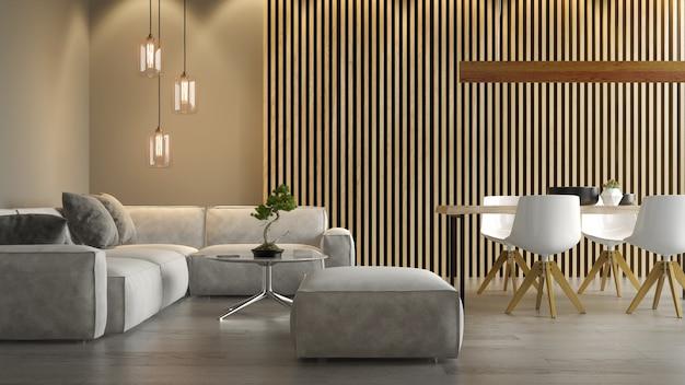 Innenraum des modernen wohnzimmers mit sofa 3d-rendering