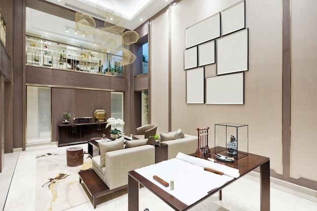 Innenraum des modernen wohnzimmers mit studie
