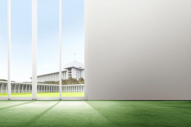 Innenraum des raumes mit grünem teppich- und glastürhintergrund