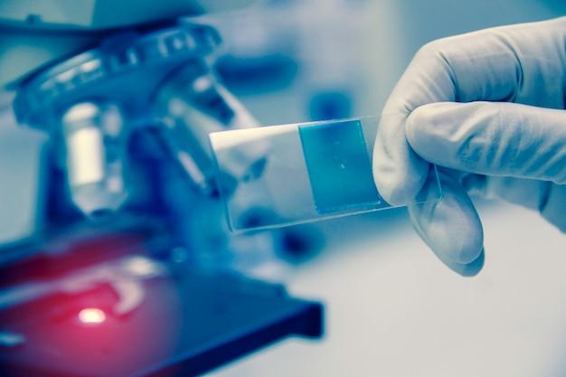 Innenraum des sauberen modernen weißen medizinischen oder chemielabors. laborwissenschaftler, der an einem labor mit mikroskop und reagenzgläsern arbeitet. laborkonzept mit asiatischem frauenchemiker.
