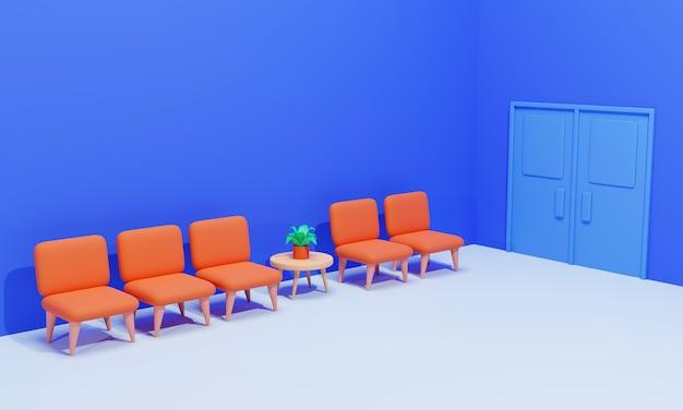 Innenraum des warteraumkonzepts auf blauem, 3d-rendering