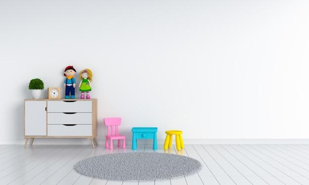 Innenraum des weißen kinderraumes für modell