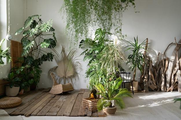Innenraum des wohnzimmers oder innengartens mit zimmerpflanzen und alten dekorativen holzgestaltungselementen