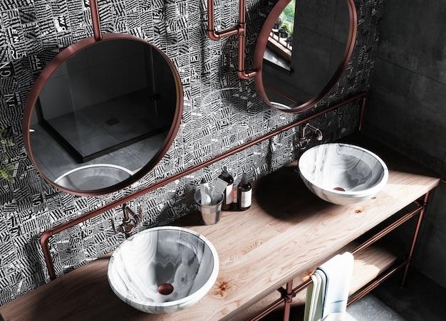 Innenraum eines modernen badezimmers mit einem mosaik an der wand. 3d-rendering