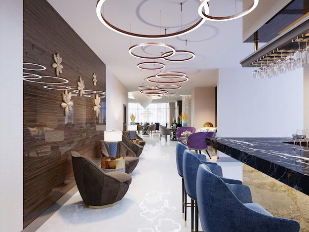 Innenraum eines modernen pubs oder einer bar am abend. 3d-rendering