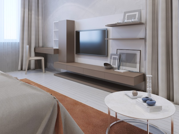 Innenraum eines modernen schlafzimmers mit wandfernseher