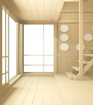 Innenraum im tropischen stil, leerer raum im japanischen stil. 3d-rendering