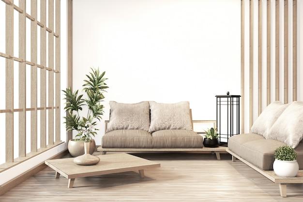 Innenraum, japanische art des modernen wohnzimmers des zens