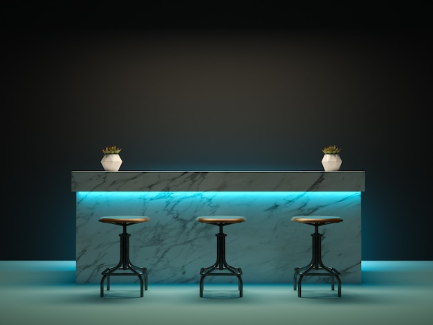 Innenraum mit bartheke 3d-rendering