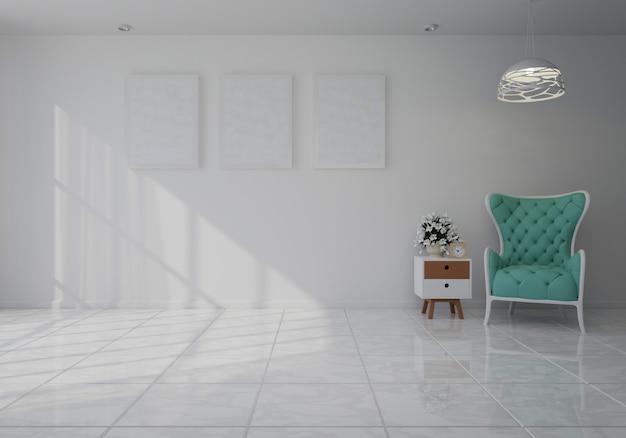 Innenraum mit blauem samtlehnsessel im wohnzimmer mit weißer wand