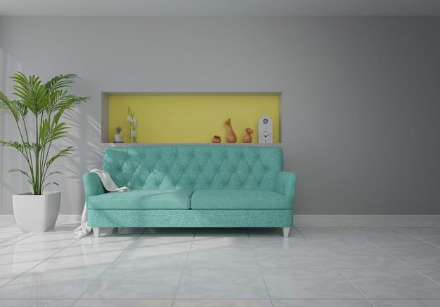 Innenraum mit blauem samtsofa im wohnzimmer mit weißer wand