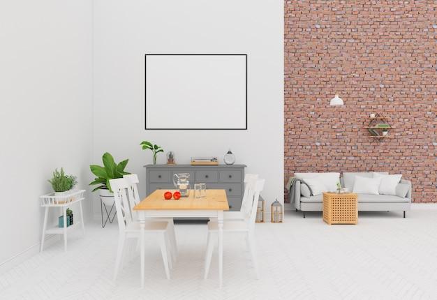 Innenraum mit einer backsteinmauer - horizontaler rahmen