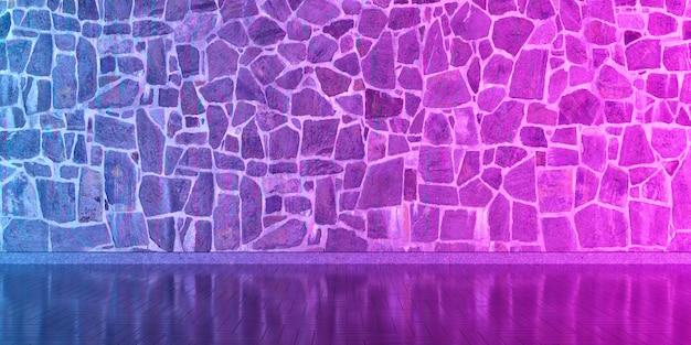 Innenraum mit einer steinmauer für den ganzen rahmen im neonlicht, 3d illustration