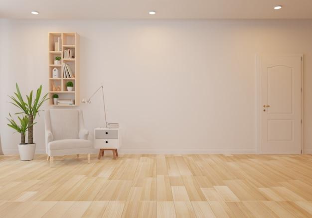 Innenraum mit grauem samtlehnsessel im wohnzimmer mit weißer wand
