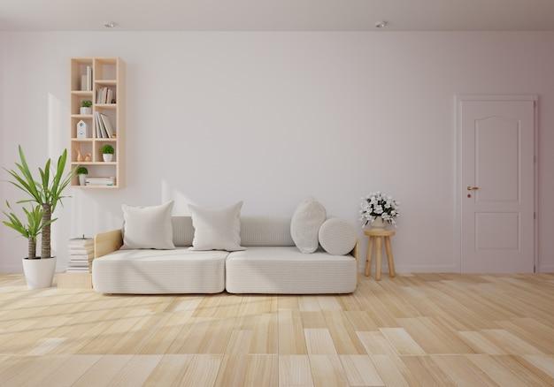 Innenraum mit grauem samtsofa im wohnzimmer mit weißer wand