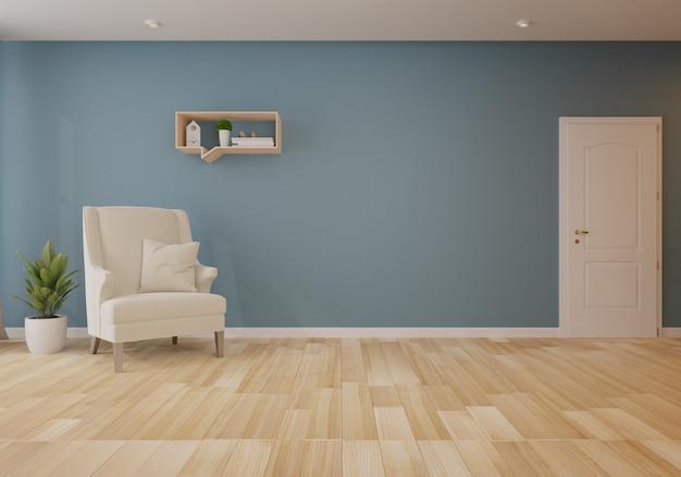 Innenraum mit grauem sofa im wohnzimmer mit dunkler wand. 3d-rendering