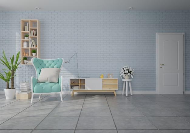 Innenraum mit grünem samtlehnsessel im wohnzimmer mit weißer wand