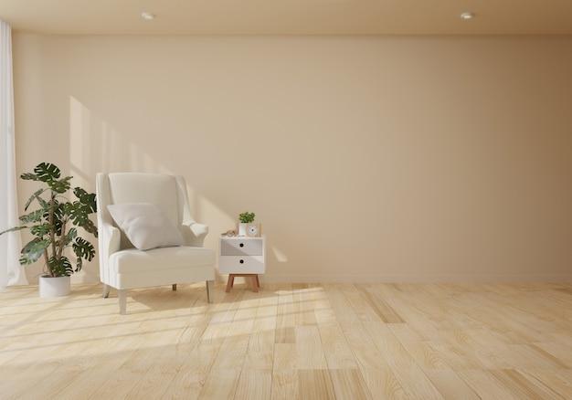 Innenraum mit samtsessel im wohnzimmer mit weißer wand