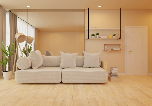 Innenraum mit samtsofa im wohnzimmer mit weißer wand