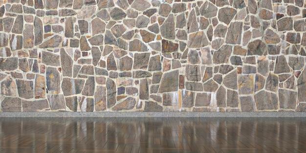 Innenraum mit steinmauer für den ganzen rahmen, 3d illustration