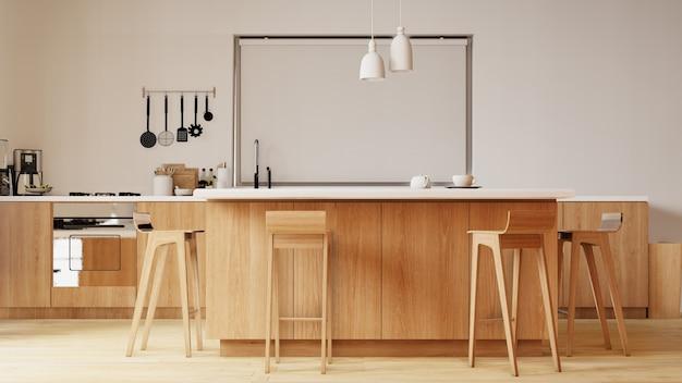 Innenraum mit stuhl und tisch im küchenraum mit weißer wand. 3d-rendering.