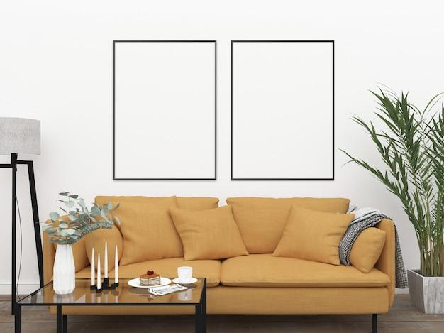 Innenraum mockup mit gelbem sofa
