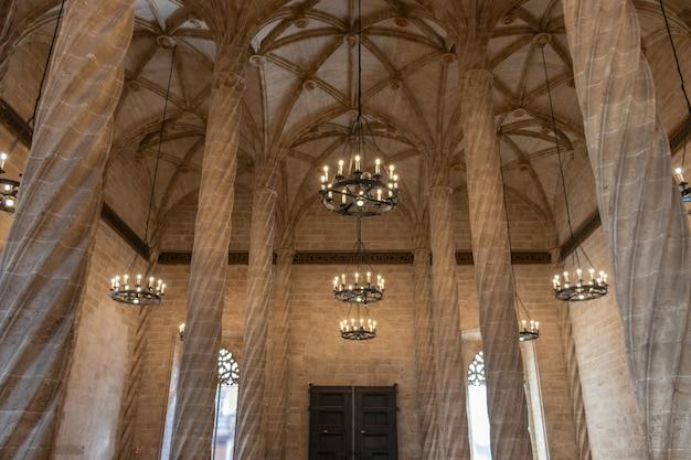 Innenraum von lonja de la seda, zivilgebäude im gotischen stil in valencia