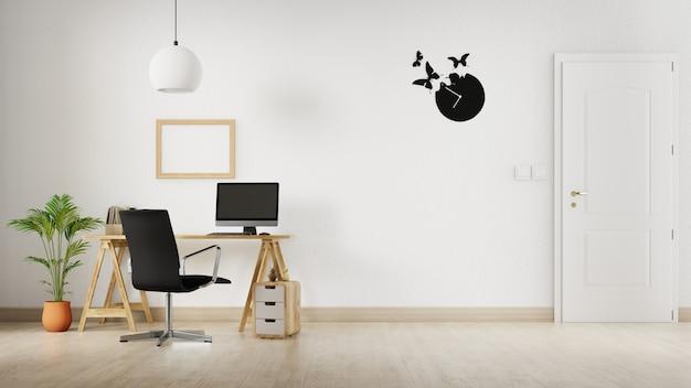 Innenraum zu hause mit desktop-arbeitsplatz. 3d-rendering.