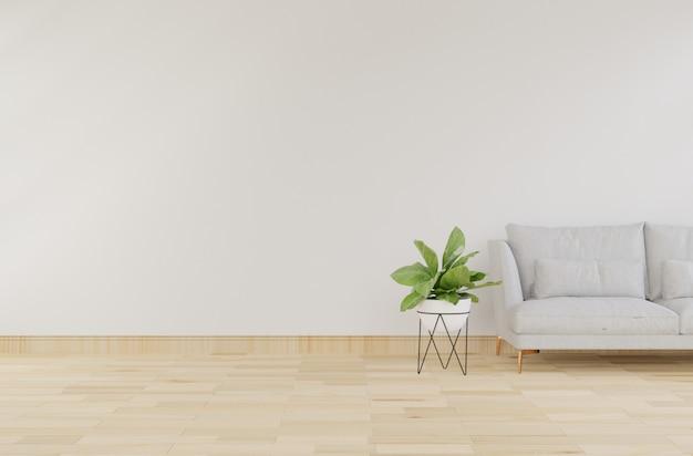 Innenraumspott oben mit grauem samtsessel im wohnzimmer mit weißer wand. 3d-rendering.