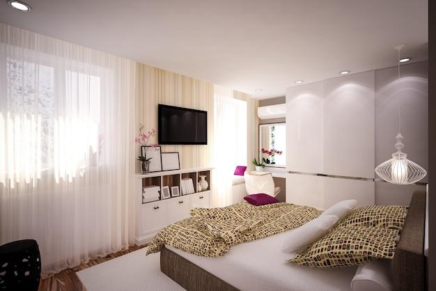 Innenschlafzimmer im modernen stil. innenarchitektur