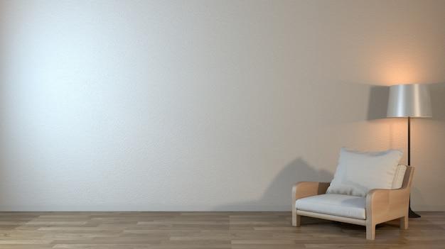 Innenspott oben mit lehnsessel im japanischen wohnzimmer mit leerer wand