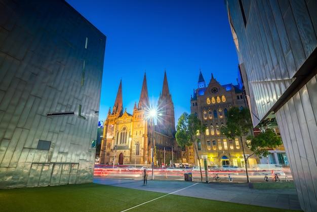Innenstadt von melbourne in der dämmerung in australien