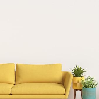 Innenwand-galerie-modell mit sofa und betriebsdekoration