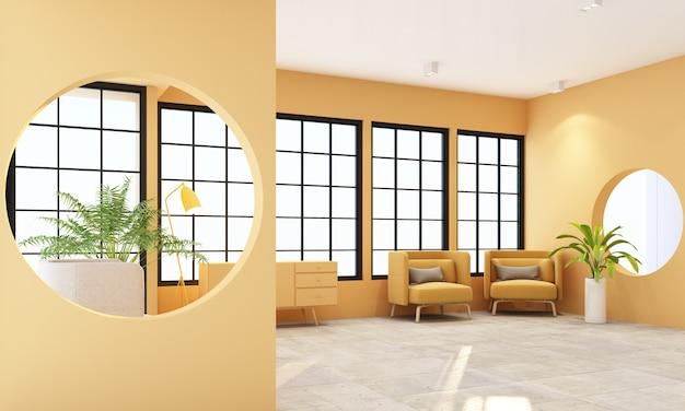 Innenwohnbereich mit schwarzen rahmenfenstern und gelbem möbelputz