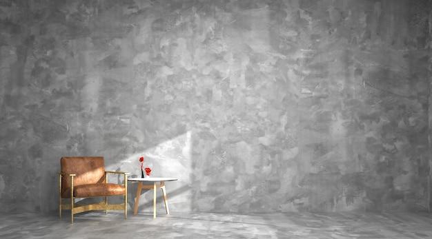Innenwohnzimmer betonmauer boden leder stuhl vorlage