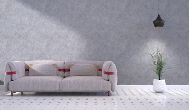 Innenwohnzimmer mit betonwand und sofa 3d-rendering