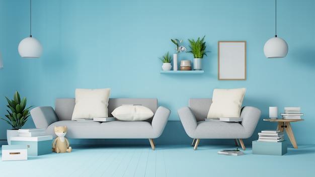 Innenwohnzimmer mit buntem weißem sofa und lehnsessel