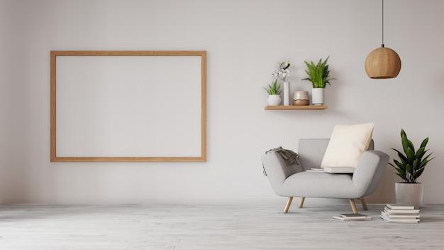 Innenwohnzimmer mit buntem weißem sofa
