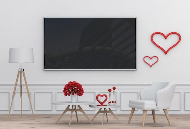 Innenwohnzimmer mit fernseh- und rosafarbenen valentinsgrußdekorationen