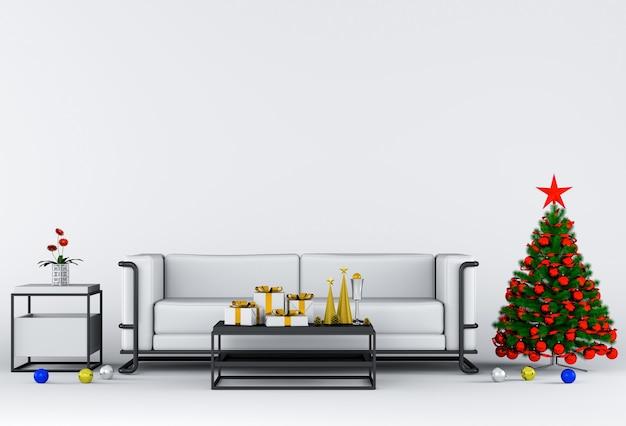 Innenwohnzimmer mit weihnachten. 3d-rendering