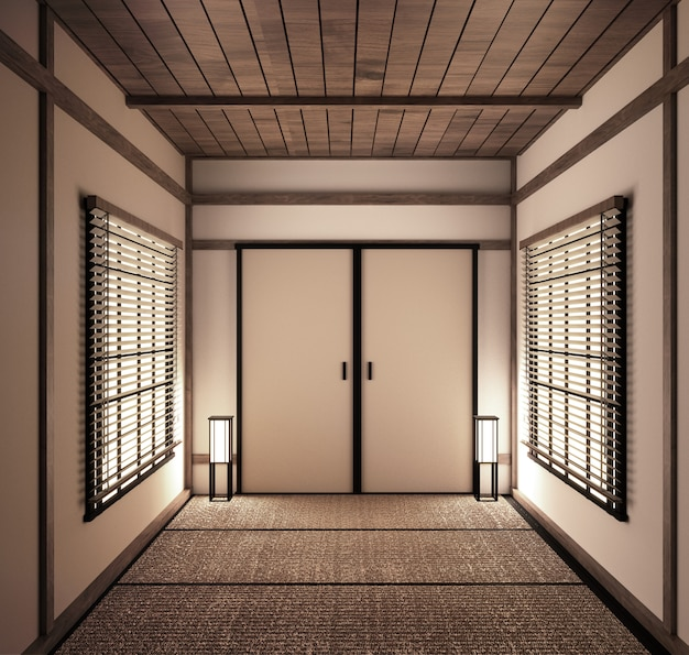 Innere japanische leere raum tatami-matte entwerfen das schönste. 3d-rendering