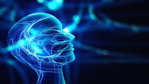 Innovationstechnologie abstrakter hintergrund mit menschlicher kopfsilhouette