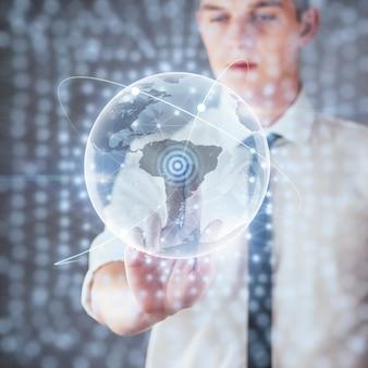 Innovative technologien in wissenschaft und medizin. technologie zum verbinden. halten sie leuchtenden planetenerde