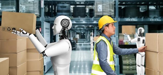 Innovativer industrieroboter, der im lager zusammen mit menschlichen arbeitern arbeitet