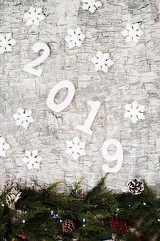 Inschrift 2019 mit kleinen schneeflocken