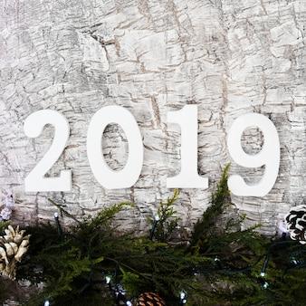 Inschrift 2019 mit zweigen