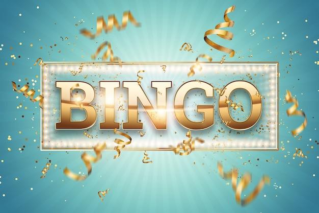 Inschrift bingo in goldenen buchstaben auf blau