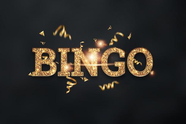 Inschrift bingo in goldenen buchstaben auf einem dunklen