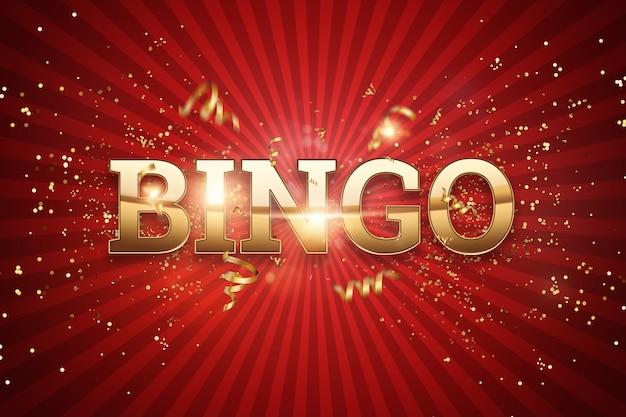 Inschrift bingo in goldenen buchstaben auf rot