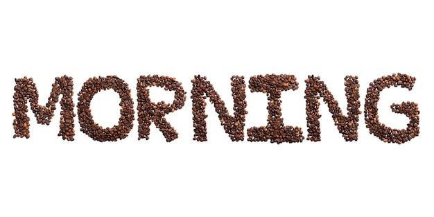 Inschrift morgen des englischen alphabets von gerösteten kakaobohnen. kaffeemuster gemacht von den kaffeebohnen konzeptkultur des kaffees zeichen von einem foto der wirklichen kakaobohne
